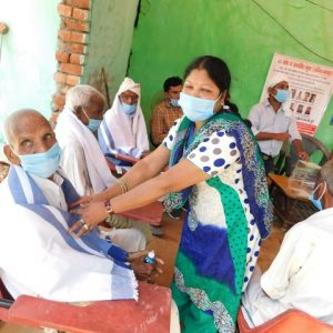 Distribution of masks and sanitizers